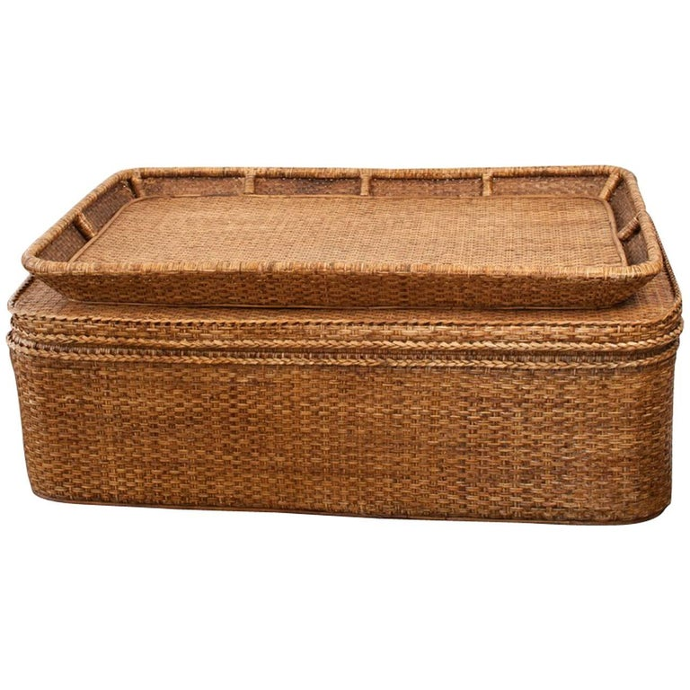 Midcentury French Woven Wicker Trunk Or Coffee Table With Storable Tray At 1stdibs