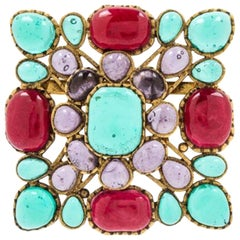Chanel Multi-Color Gripoix Square Brooch