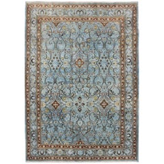 Ice Blue Ornate Sweeping Floral Pattern Khorassan Vintage Persian Rug