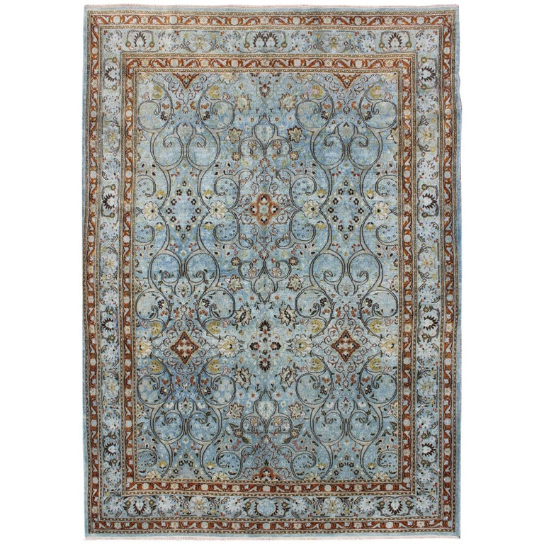 Ice Blue Ornate Sweeping Floral Pattern Khorassan Vintage Persian