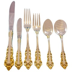 Medici Gold Accent by Gorham Sterling Silver Flatware 27 Pieces
