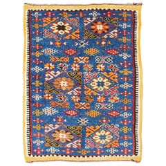 Vintage Moroccan Rug with Bright Blue Field and Colorful Geometric Motifs