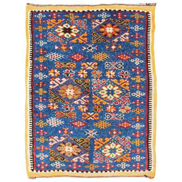 Vintage moroccan rug with bright blue field and colorful for Colorful rugs for sale