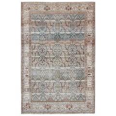 Blue Background Joshegan Rug Antique Persian with Sub-Geometric All-Over Design