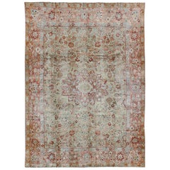 Antique Persian Sultanabad with Floral Design in Coral Pink and Light Green