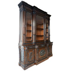 Magnificent Madagascar Ebony and Blackened Pear-wood Bookcase Bibliotheque