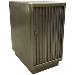 Industrial Brushed Steel Tambour Door Office Storage Cabinet