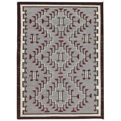 Large Contemporary Navajo Rug with Entwined Tribal Design in Gray, Red, Charcoal