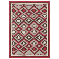 Large American Navajo Design Rug with Latticework Tribal Design in Red and Gray