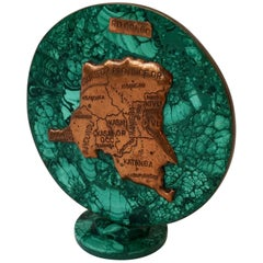 Malachite Sculpture with the Map of Congo