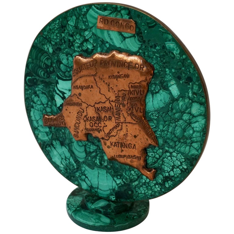 Malachite Sculpture with the Map of Congo For Sale