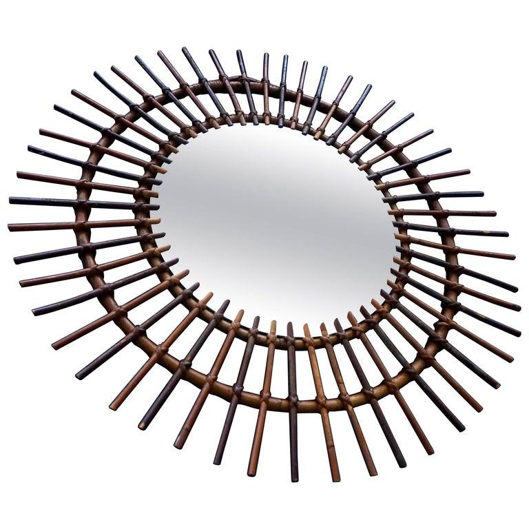 1960s Italian Rattan Sunburst Mirror