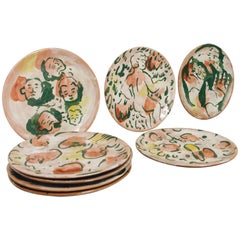 Mexican Majolica Pottery Plate Set Handmade Mid-Century Modern Red and White