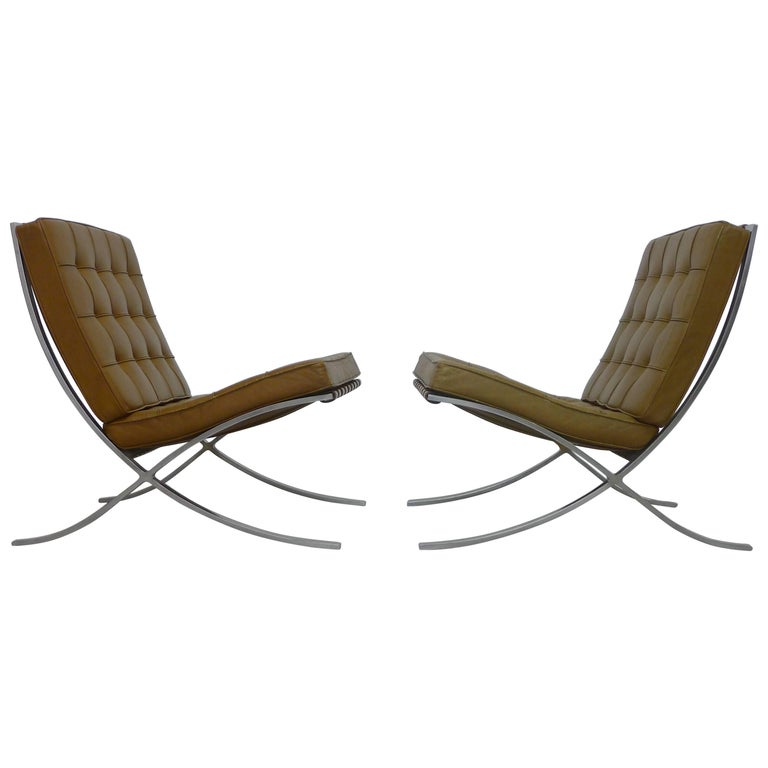 mies van der rohe vintage barcelona chairs with knoll labels circa 1960s for sale at 1stdibs. Black Bedroom Furniture Sets. Home Design Ideas
