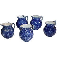 Spongeware Pitchers / Collection of Five, 19th Century