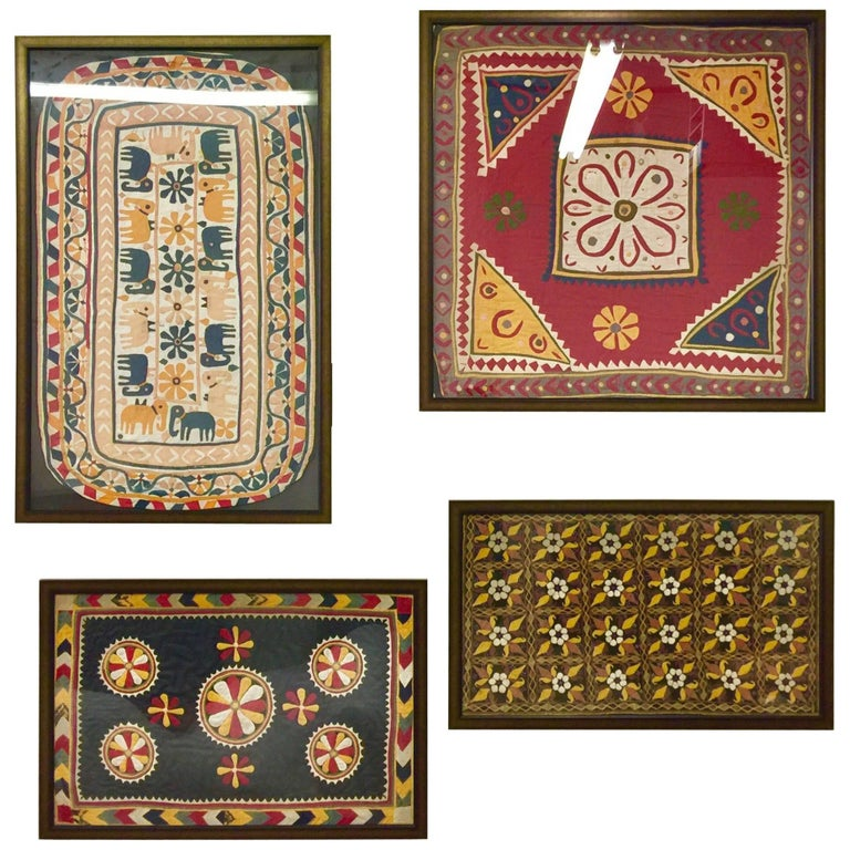 Set of Four Indian Antique Textiles Hand Embroidered Nature Theme, Framed