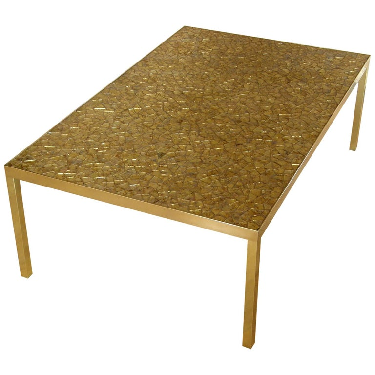 Broken Glass Mosaic Cocktail Table With Brass Frame For Sale At 1stdibs