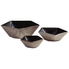 Facet Stony Gray and Black Glazed Geometric Ceramic Nesting Bowls Set of Three