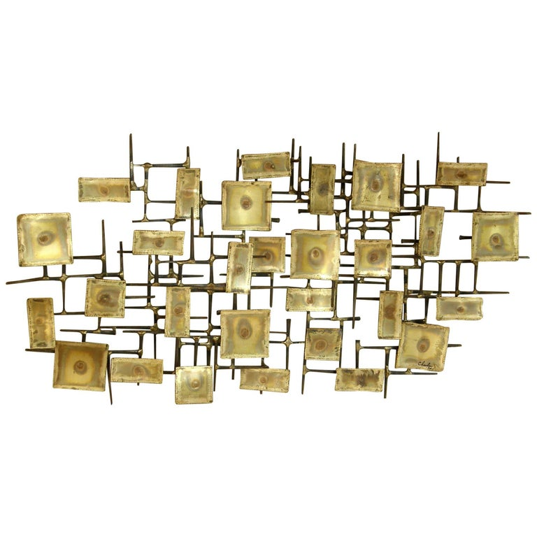 1974 Brutalist Nails Wall Sculpture with Brass Rectangles Signed Charles For Sale