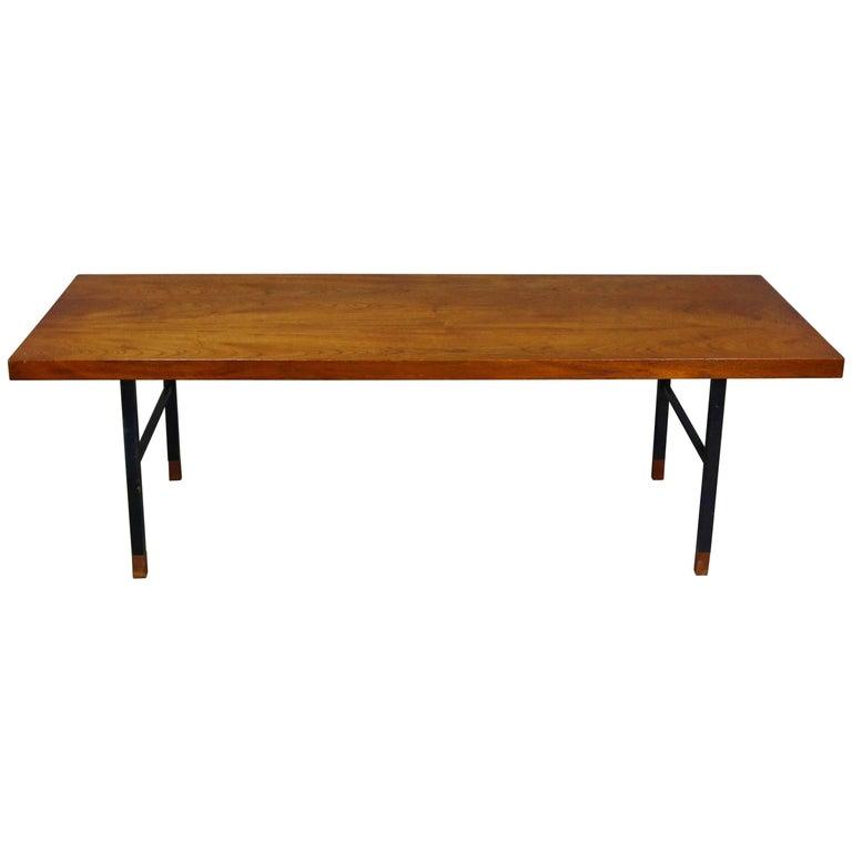 Dark Teak Coffee Table: Made In Denmark Coffee Table With Teak Top And Black Metal