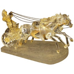 Murano Transparent and Gold Flecks Sculpture of a Chariot by Pino Signoretto