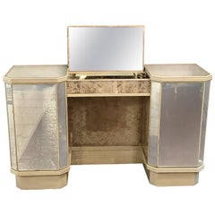 Art Deco Etched Glass and Mirrored Vanity or Desk