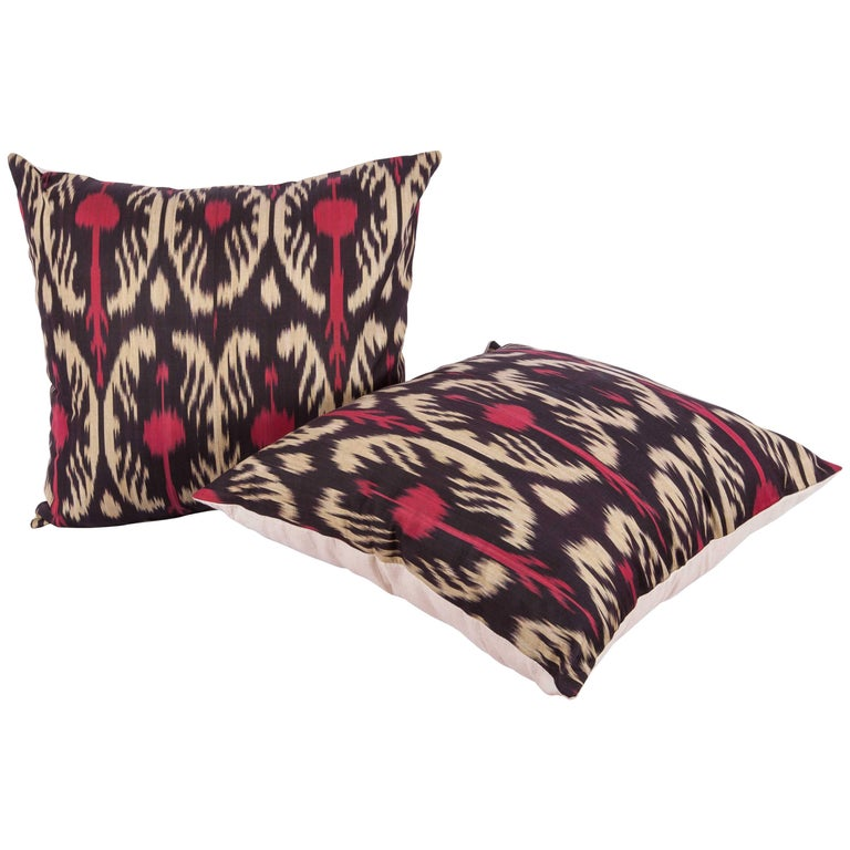 Large Pillow Cases Fashioned Out of Contemporary Uzbek Silk and Cotton Ikats For Sale