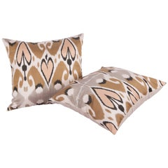 Large Pillow Cases Fashioned Out of Contemporary Uzbek Silk and Cotton Ikats