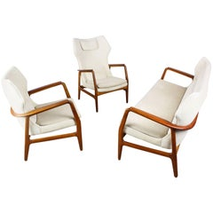 Danish Wingback Living Room Set by Aksel Bender Madsen 1950 Bovenkamp Teak White