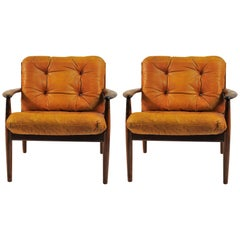 1960s Grete Jalk Lounge Chairs in Rosewood and Original Brown Leather Cushions