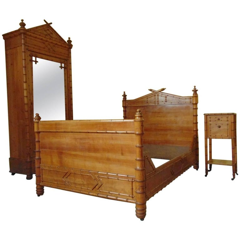 Bedroom suite faux bamboo circa 1900 for sale at 1stdibs for Bamboo bedroom furniture