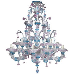 Venetian Clear, Pink and Blue Colored Glass Fifteen-Light Chandeliers