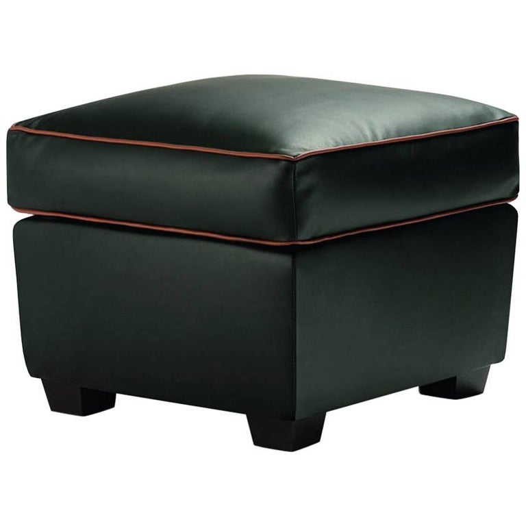 """Zarina Pouf"" Leather Ottoman Designed and Manufactured by Adele-C"
