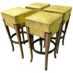 French Art Deco Bar Stools Set of Four