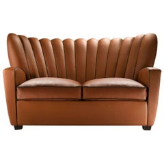 """Zarina Divanetto"" Leather Two-Seat Sofa Designed and Manufactured by Adele-C"