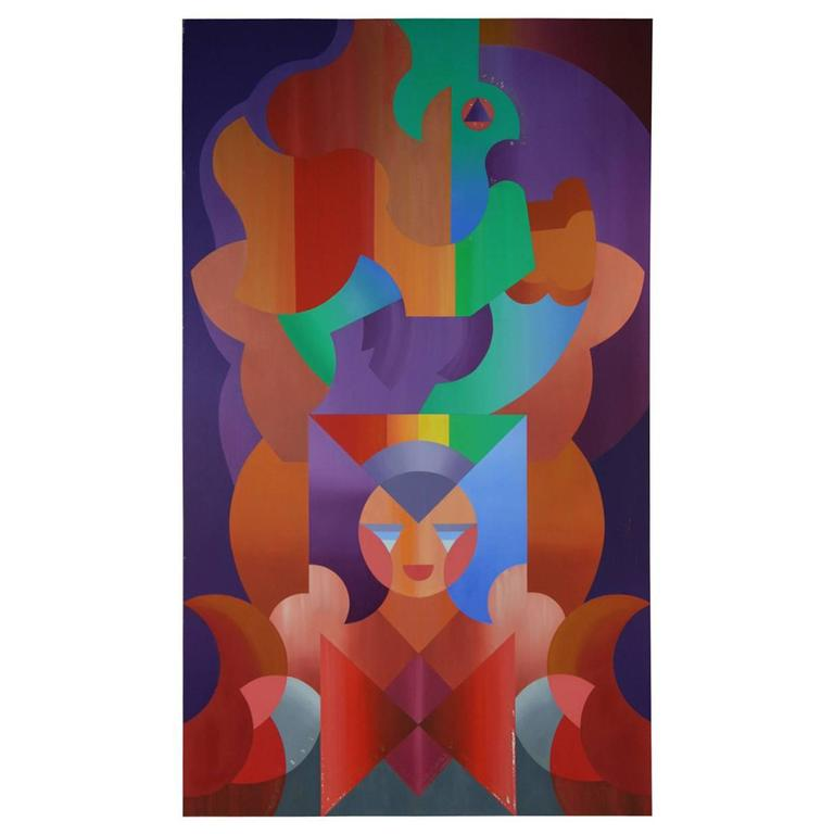 Abstract Colored Puzzle Painting For Sale