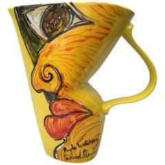 Painted Yellow Vintage Jug Vase, Original 'People Watching' by David Harper