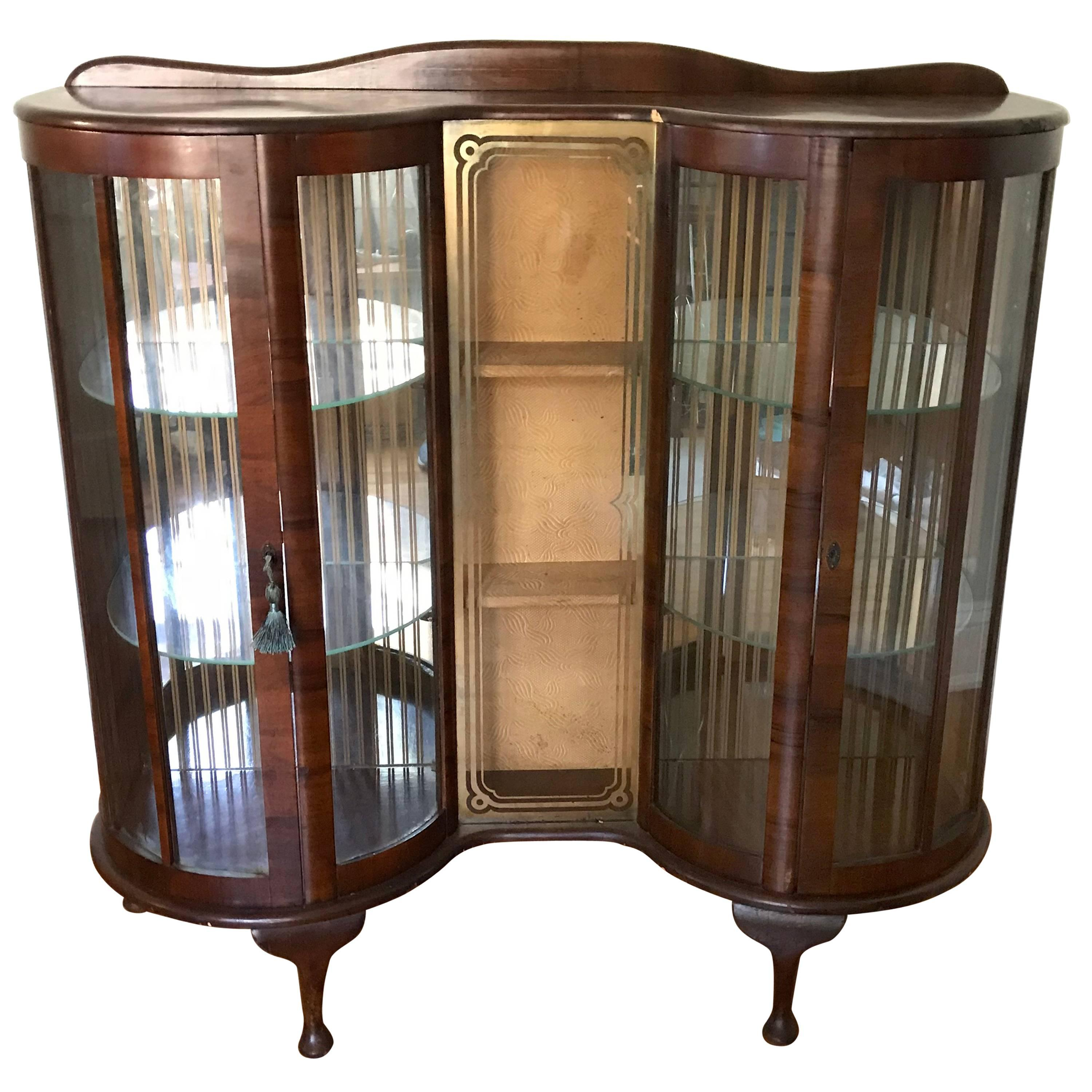 1950s English Walnut And Glass Curio Display Cabinet For Sale