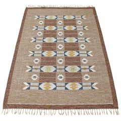 Antique Large Swedish Rollakan Hand Woven Wool Rug Signed IS