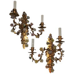 Wonderful French Pair Vintage Gold Gilt Two-Arm Sconces with Porcelain Flowers