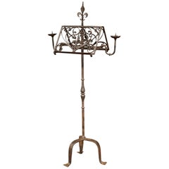 19th Century French Black Wrought Iron Lectern with Hand-Forged Fleur-de-Lys