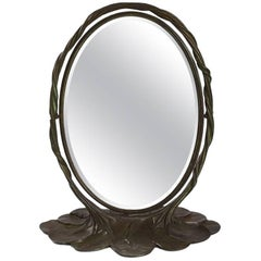 "Tiffany Studios Bronze ""Lily Pad"" Mirror"