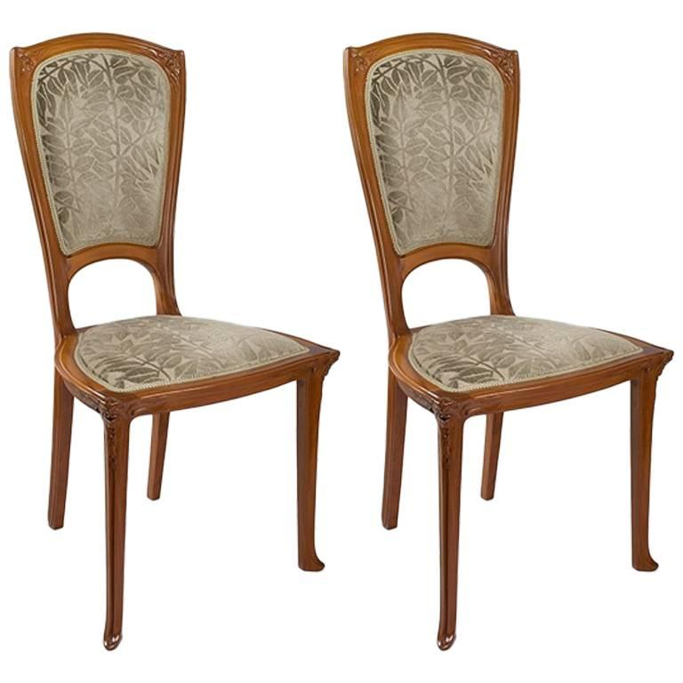 Pair Of French Art Nouveau Side Chairs By Gauthier For Sale At 1stdibs