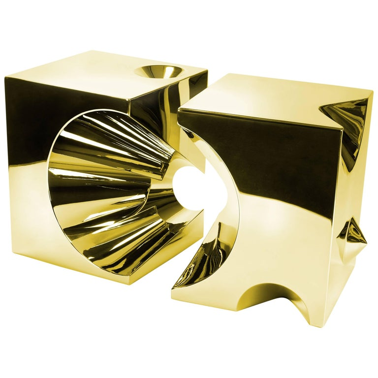 Side Table Stool Modern Square Steel Gold Italian Limited Edition Design