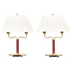 Pair of Brass and Leather Table Lamps by Josef Frank