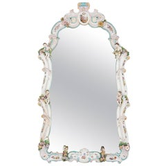 Large Dresden Porcelain Mirror in German Rococo Style