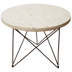 Martin Perfit for Rene Brancusi Marble Top Occasional Table with Strut Base