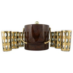 Georges Briard Ice Bucket with Culver Pisa Cocktail Glasses, a Set