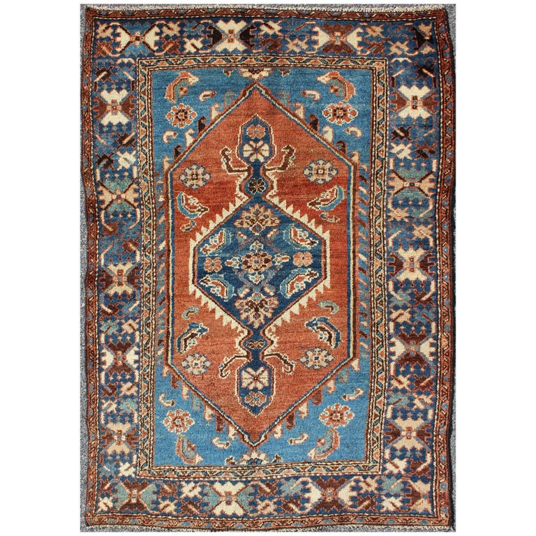 Antique Persian Karadjeh Rug with Tribal Medallion in Rust Red and Bright Blue