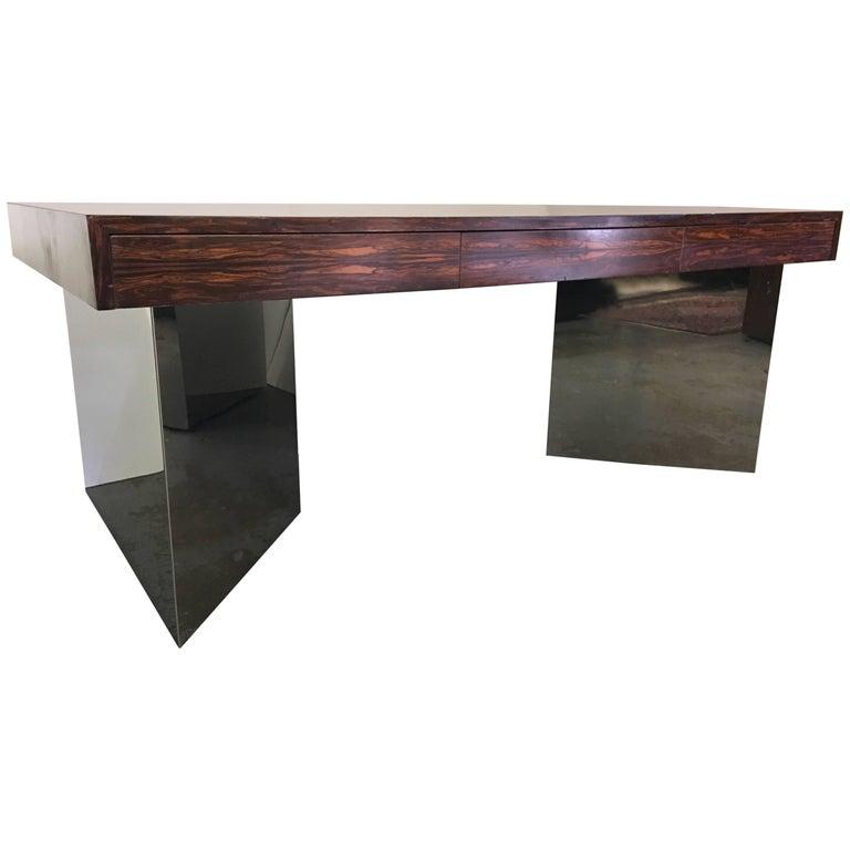 1970 Rosewood Table Desk on Chrome Triangular Plinth Bases